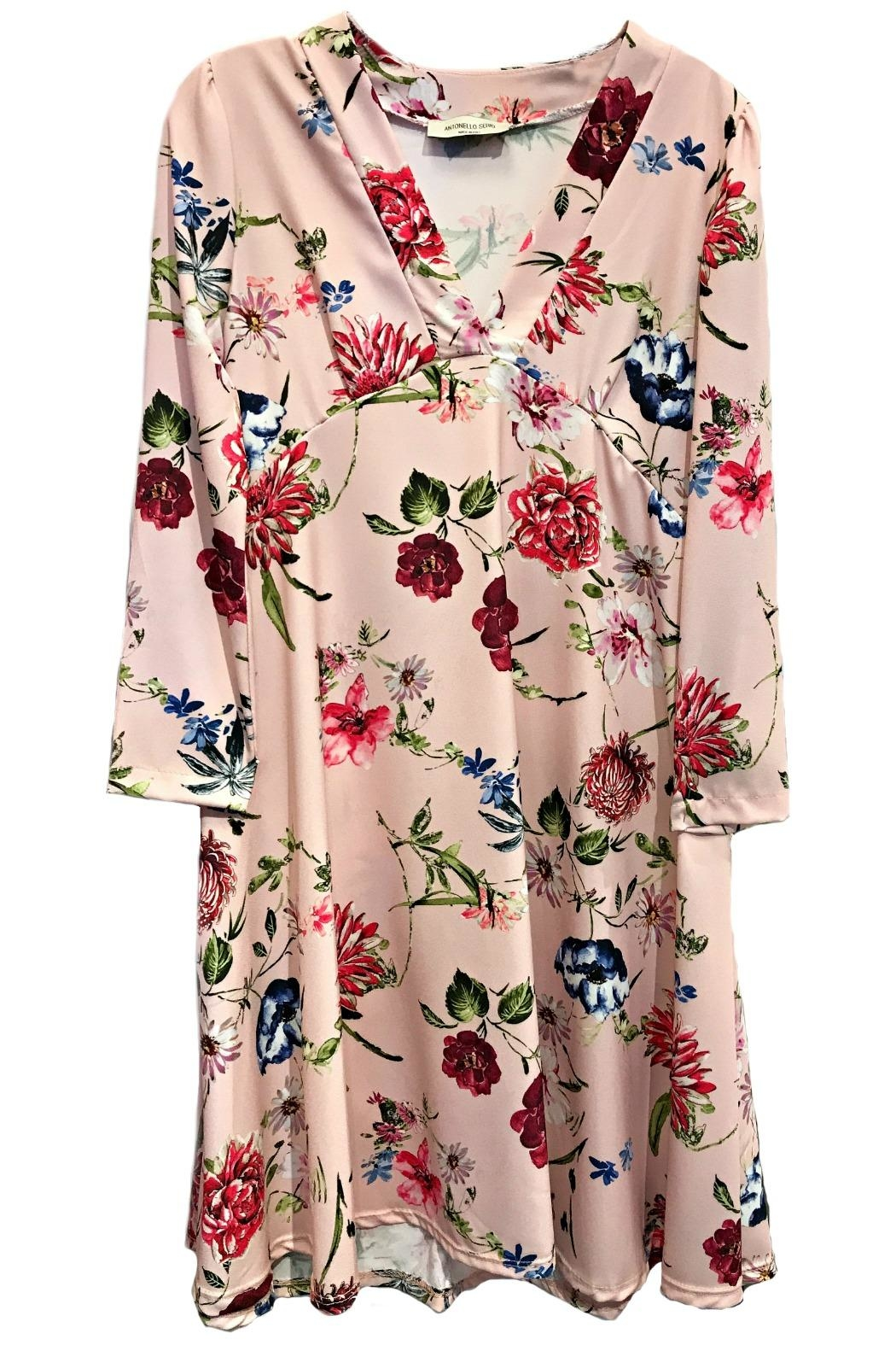 ANTONELLO SERIO Pink Floral V-Neck - Front Cropped Image