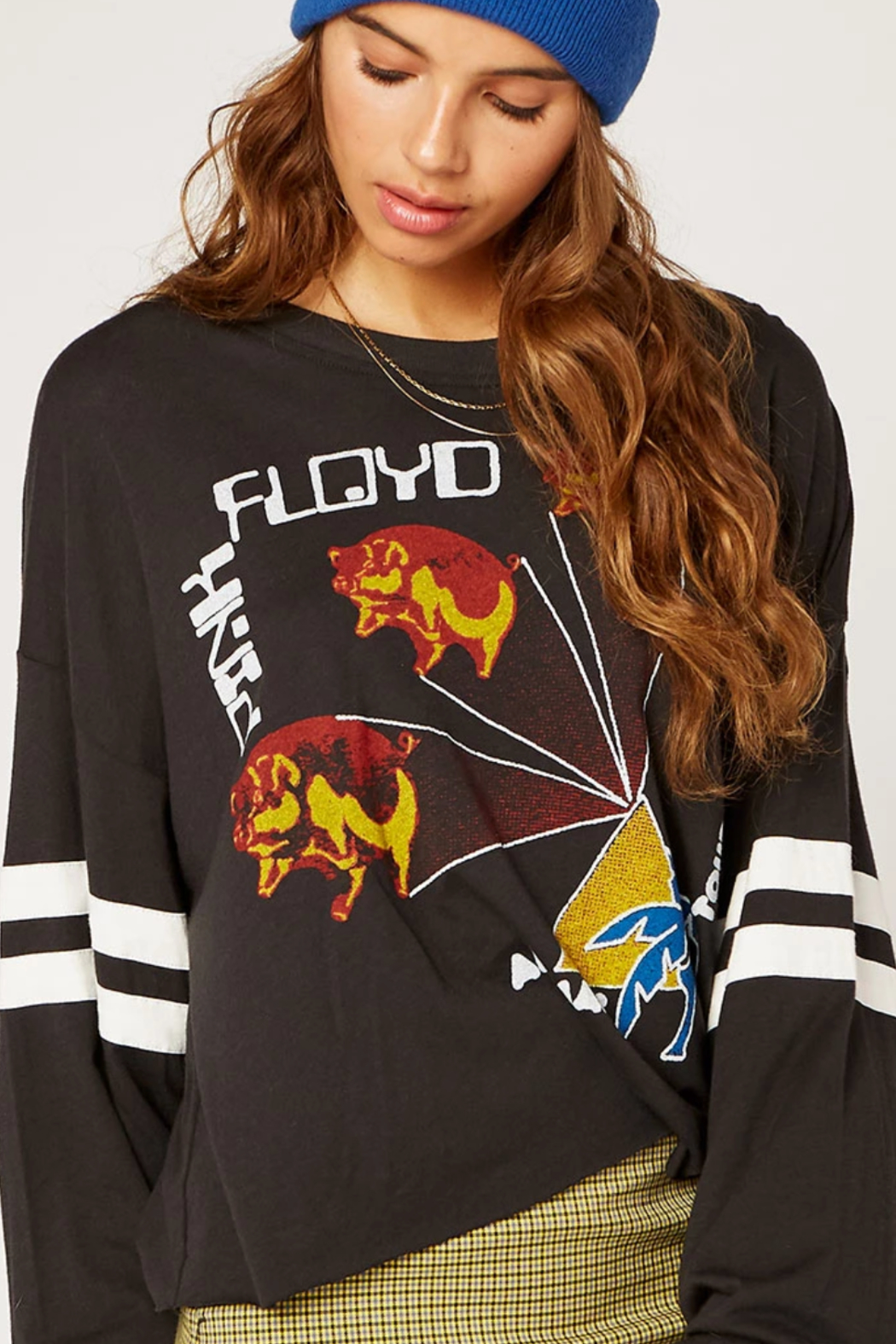 Daydreamer Pink Floyd Animals Tour Varsity Long Sleeve Tee - Side Cropped Image