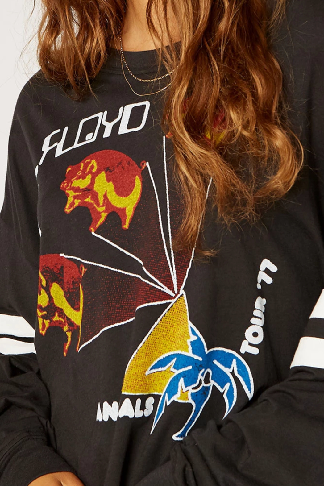 Daydreamer Pink Floyd Animals Tour Varsity Long Sleeve Tee - Front Full Image