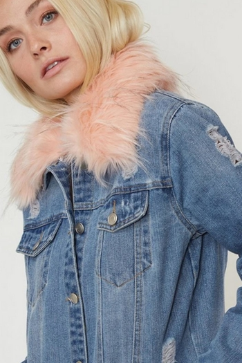 Fantastic Fawn Pink Fur Jean Jacket From Montclair By That Little
