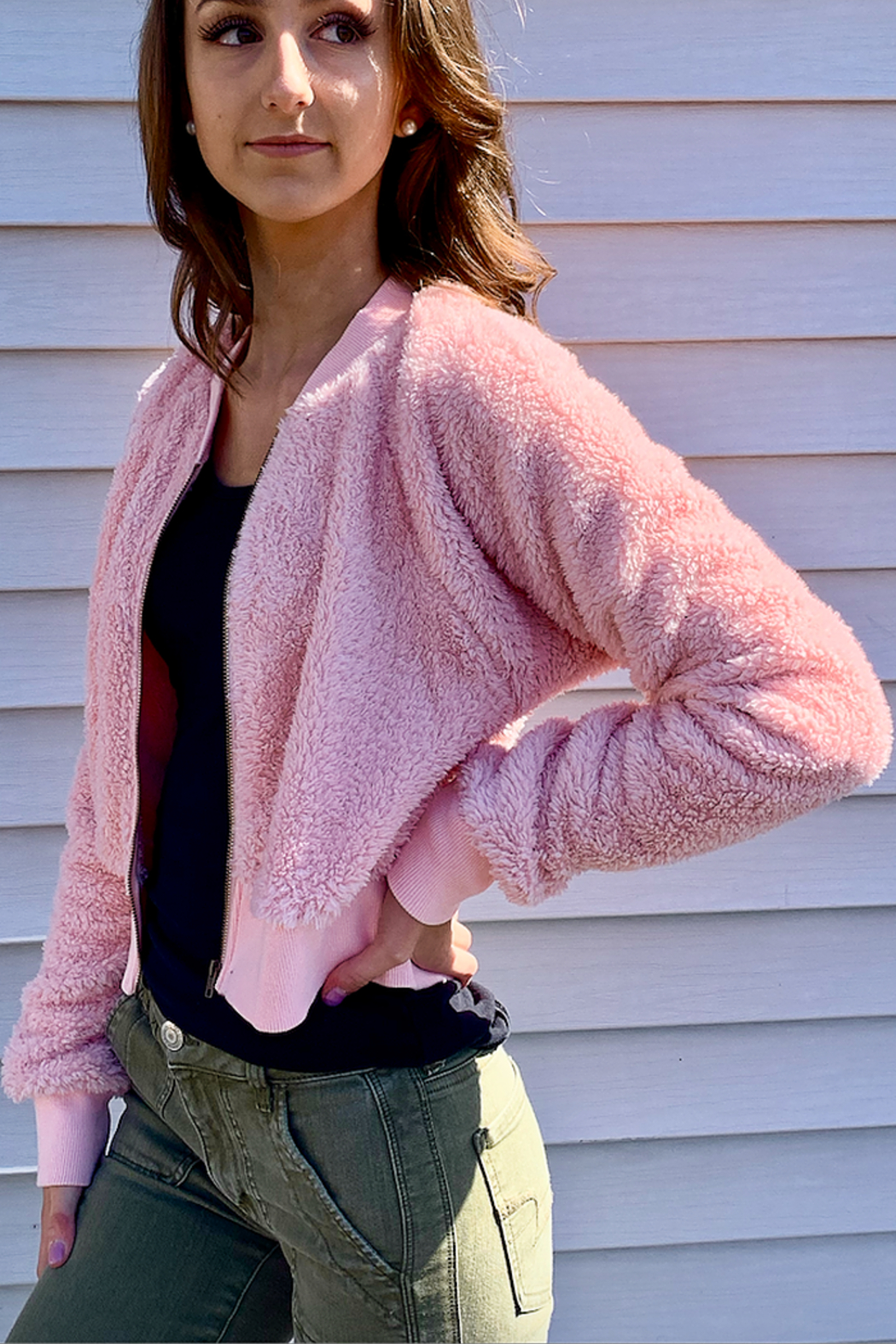 Bear Dance Pink Fuzzy Bomber Jacket - Main Image