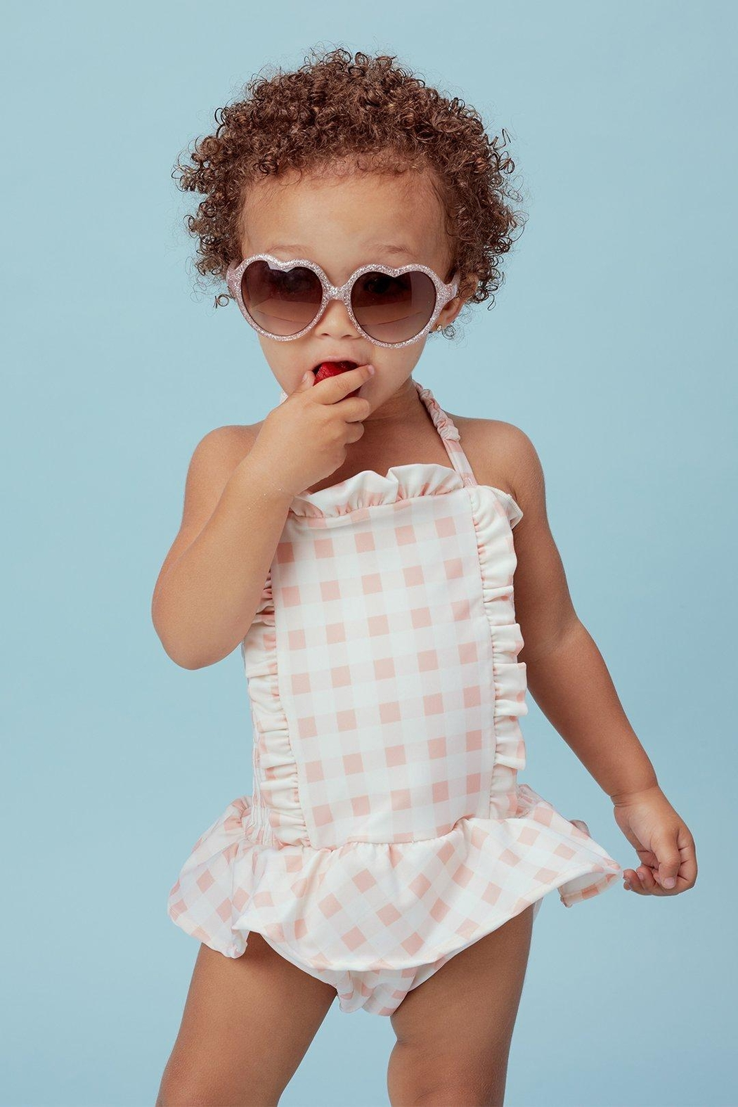 Lil Lemons Pink Gingham Swimsuit - Main Image