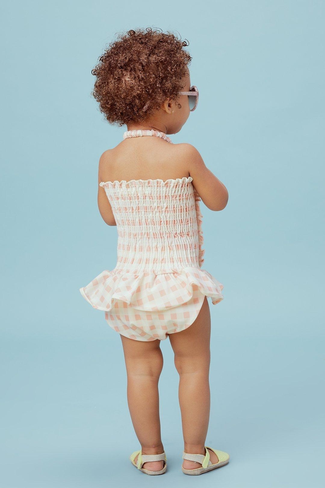 Lil Lemons Pink Gingham Swimsuit - Side Cropped Image
