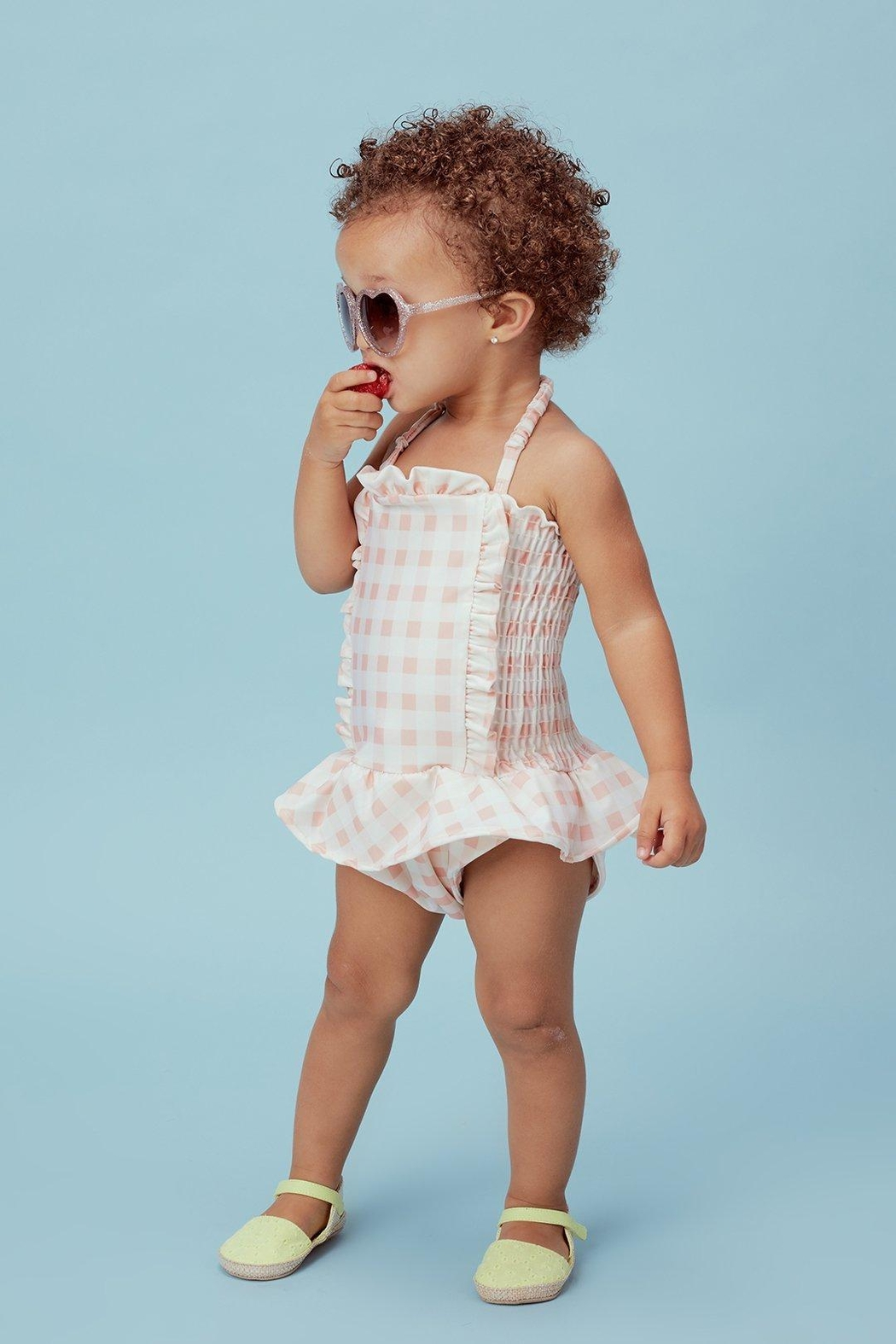 Lil Lemons Pink Gingham Swimsuit - Front Full Image