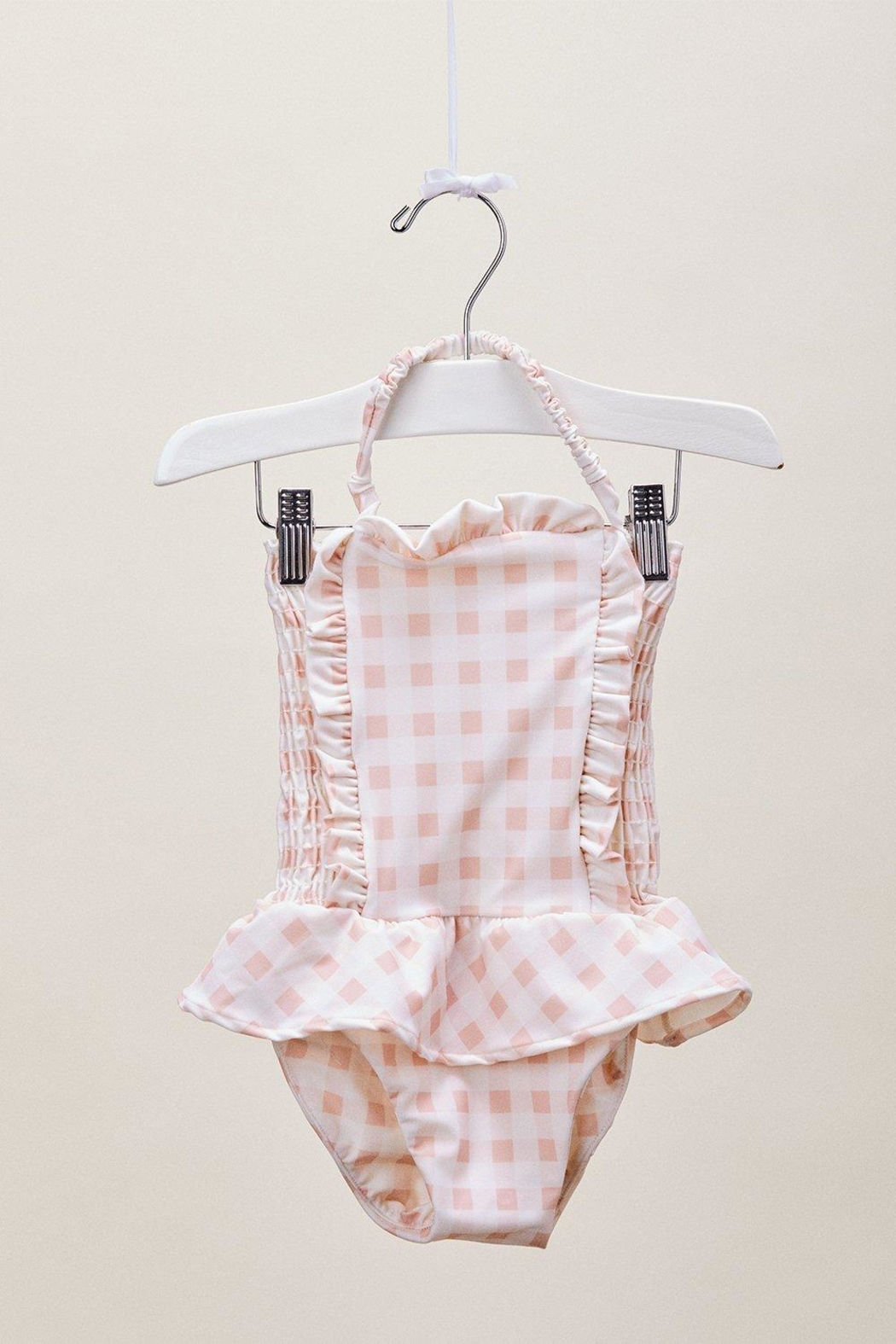 Lil Lemons Pink Gingham Swimsuit - Back Cropped Image