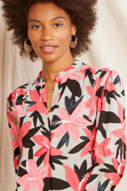 Nic +Zoe Pink/grey/black floral pattern blouse, long sleeves. High/low hemline with pleat in back, v-neck. - Product Mini Image