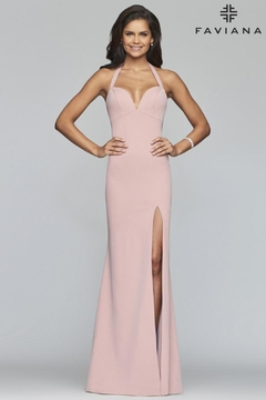 Faviana Pink Halter Gown - Product List Image