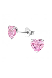 Silver Jewels Pink Heart 6mm Crystal Stud Earrings - Front cropped