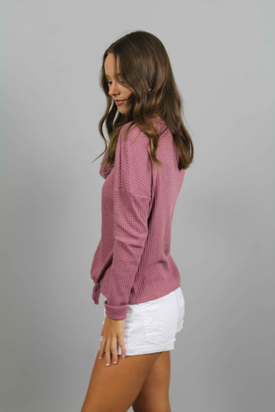 Paper Crane Pink Knit Top - Front Full Image