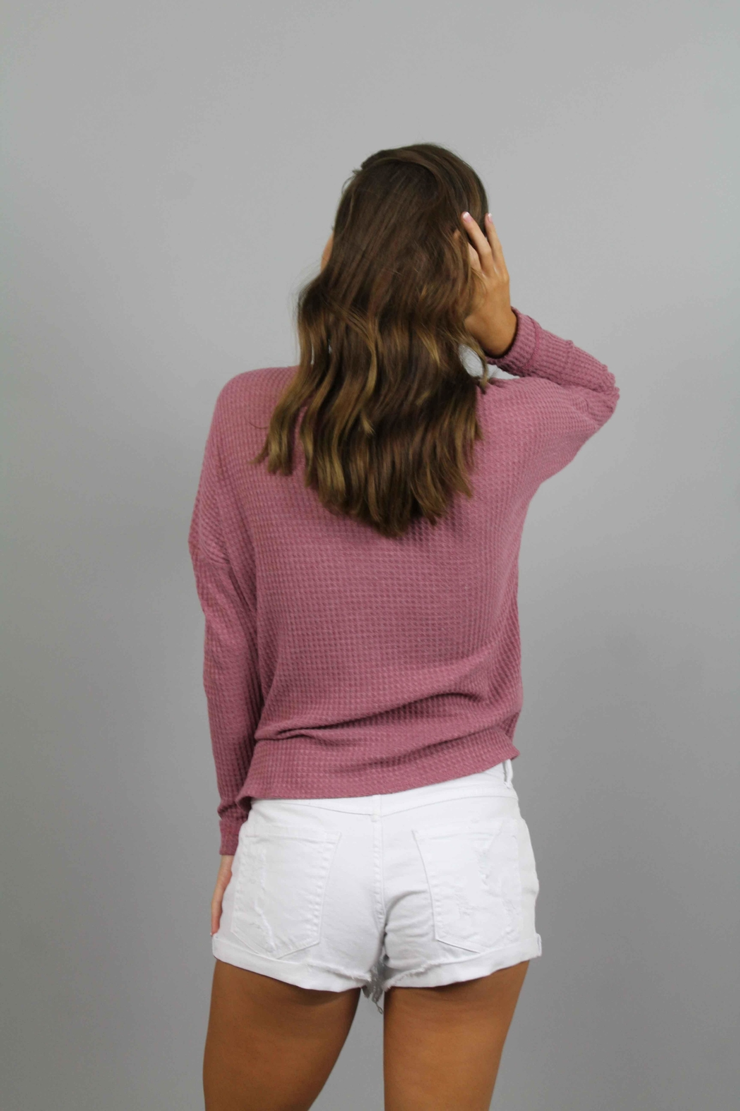 Paper Crane Pink Knit Top - Side Cropped Image