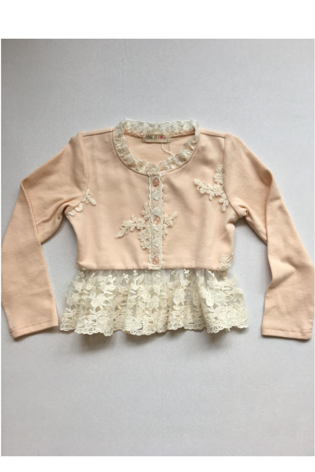 Maeli Rose Pink Lace Cardigan - Front Cropped Image