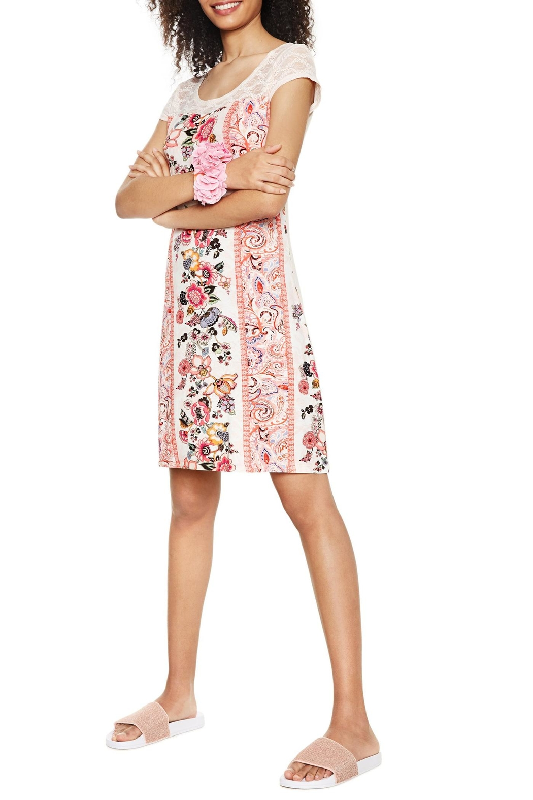 DESIGUAL Pink Lace Nighty - Front Full Image