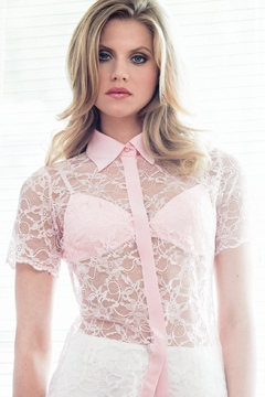 Shoptiques Product: Pink Lace Shirt