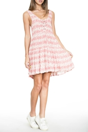 En Creme Pink Lace-Up Dress - Product Mini Image