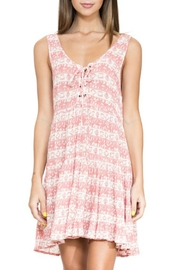 En Creme Pink Lace-Up Dress - Front full body