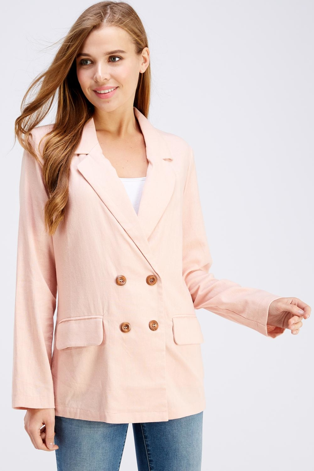 Cotton Candy LA Pink Linen Blazer - Main Image