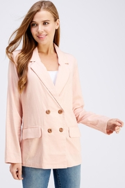 Cotton Candy LA Pink Linen Blazer - Front cropped