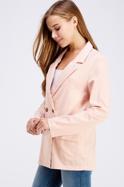 Cotton Candy LA Pink Linen Blazer - Front full body
