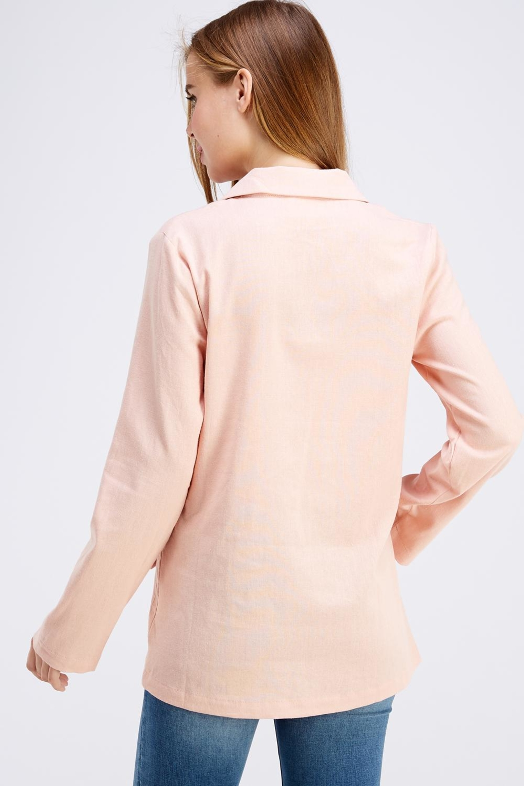 Cotton Candy LA Pink Linen Blazer - Side Cropped Image