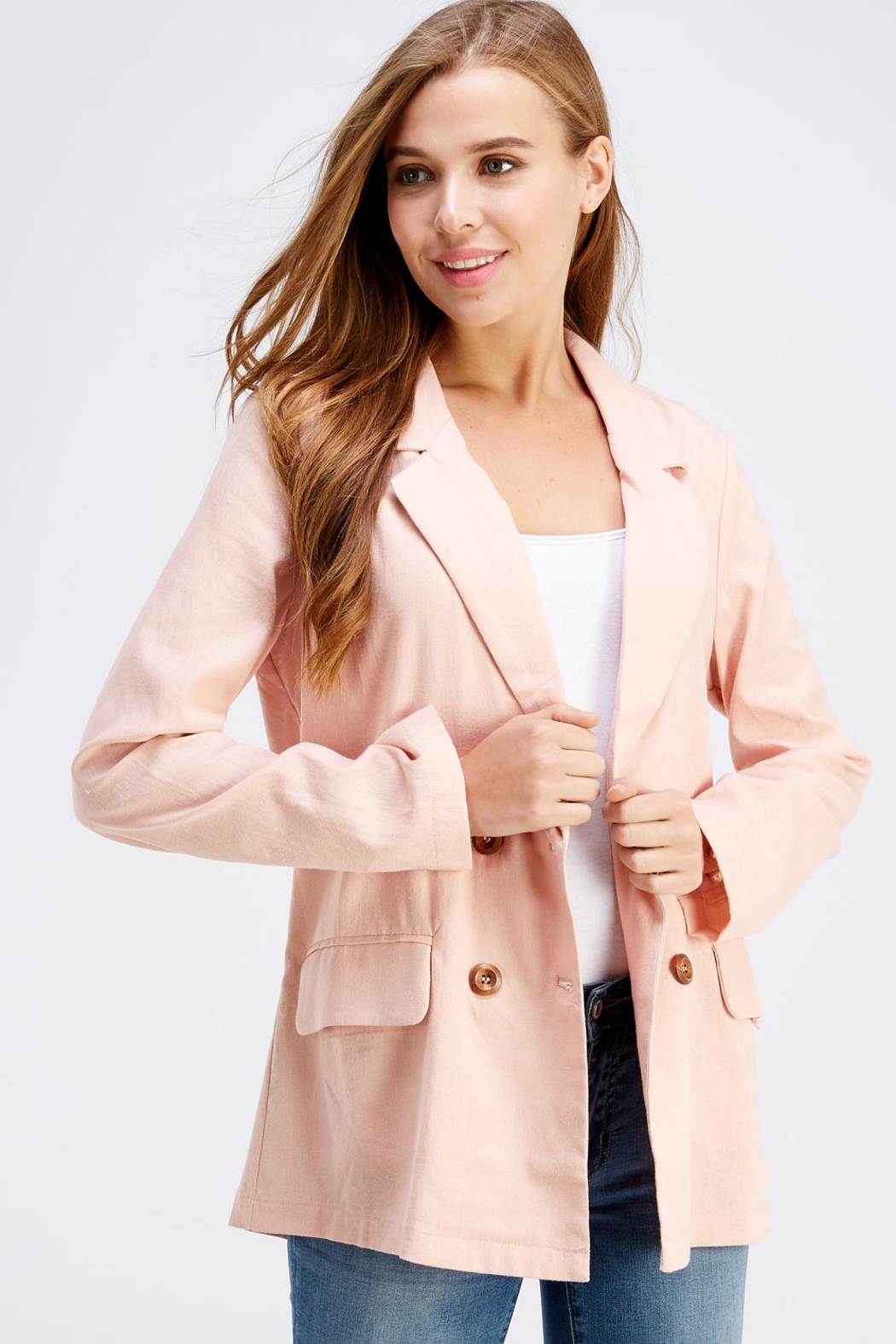 Cotton Candy LA Pink Linen Blazer - Back Cropped Image