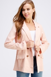 Cotton Candy LA Pink Linen Blazer - Back cropped
