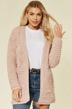 Urban Touch Pink Longsleeve Embroideredcardigan - Product List Image