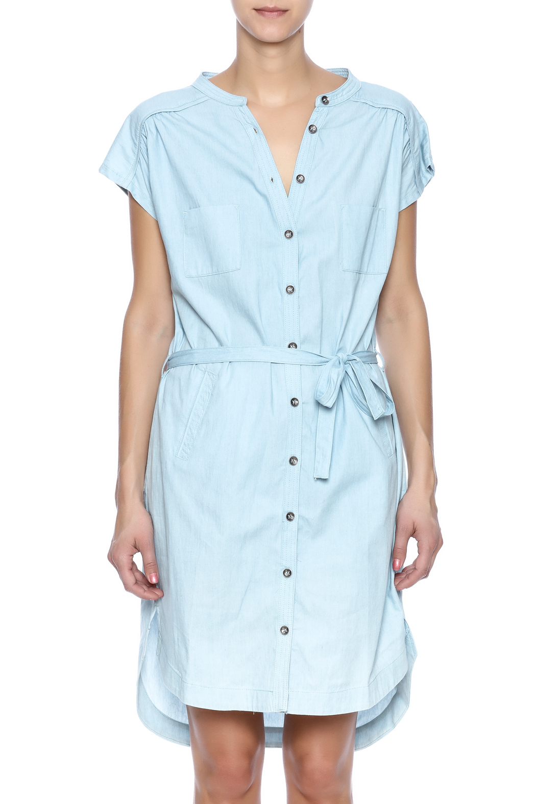 Pink Martini Casual Button Down Dress - Side Cropped Image