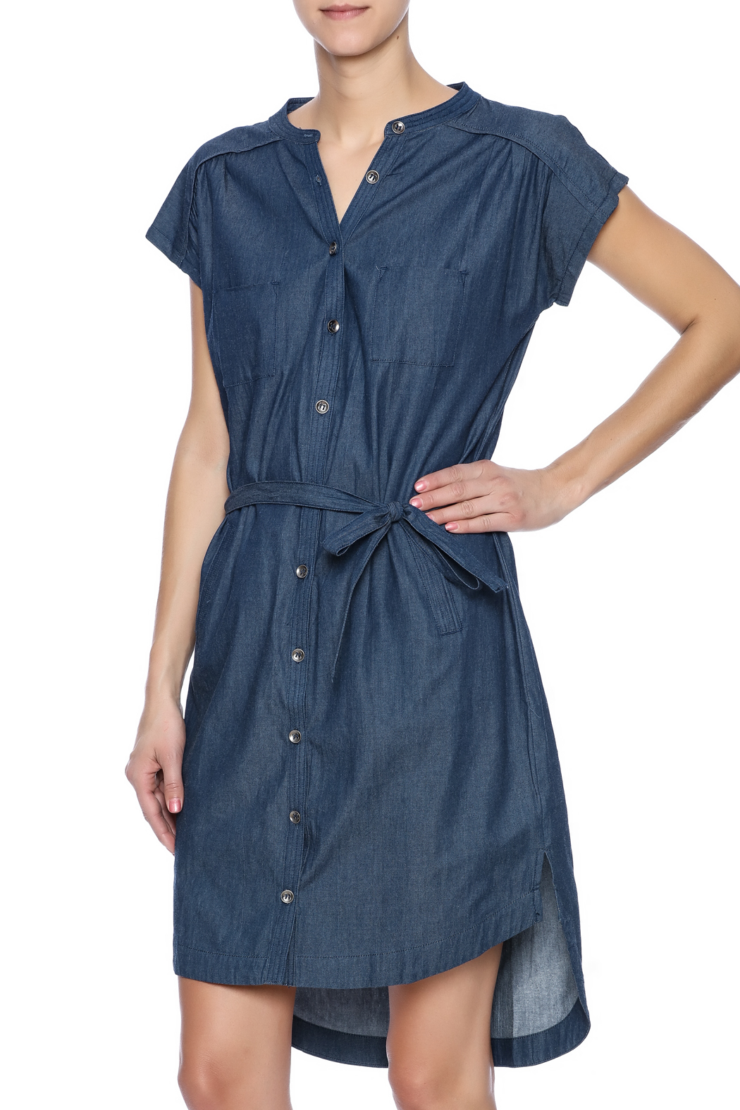 Pink Martini Casual Button Down Dress - Front Cropped Image