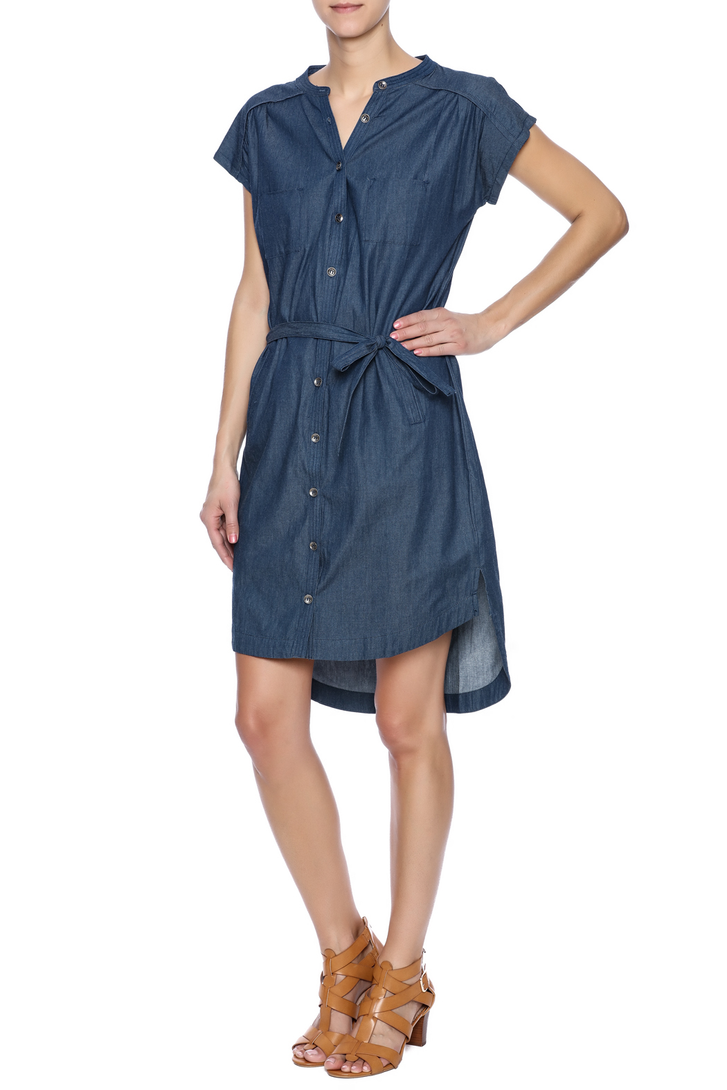 Pink Martini Casual Button Down Dress - Front Full Image