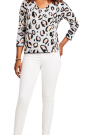 Nic + Zoe Pink Multi Knit Top, 3/4 sleeves. V-neck. - Front cropped