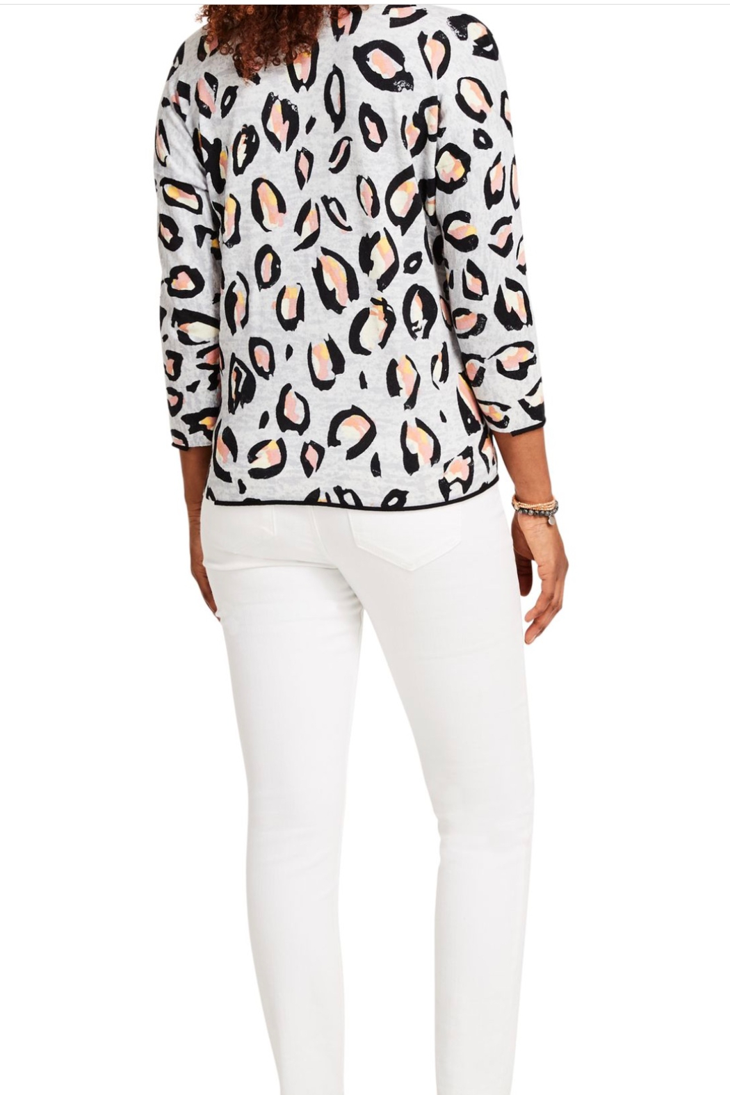 Nic + Zoe Pink Multi Knit Top, 3/4 sleeves. V-neck. - Side Cropped Image