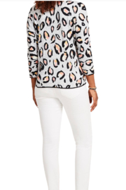 Nic + Zoe Pink Multi Knit Top, 3/4 sleeves. V-neck. - Side cropped
