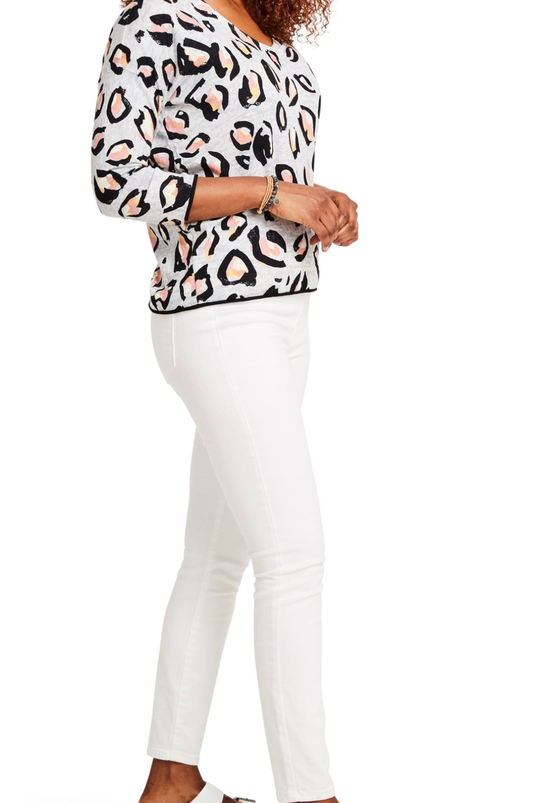Nic + Zoe Pink Multi Knit Top, 3/4 sleeves. V-neck. - Front Full Image