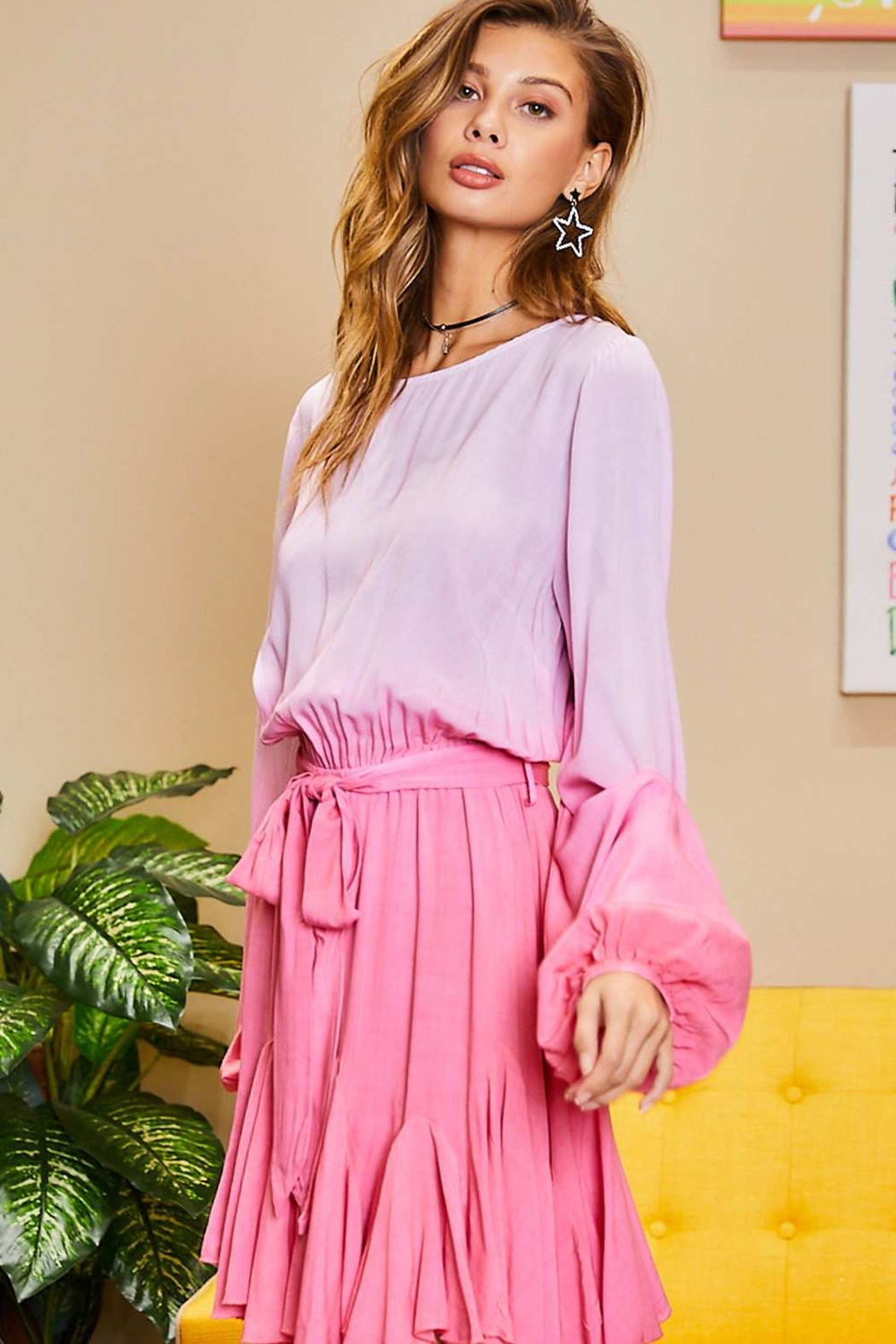 Mainstrip  Pink Ombre Dress - Side Cropped Image