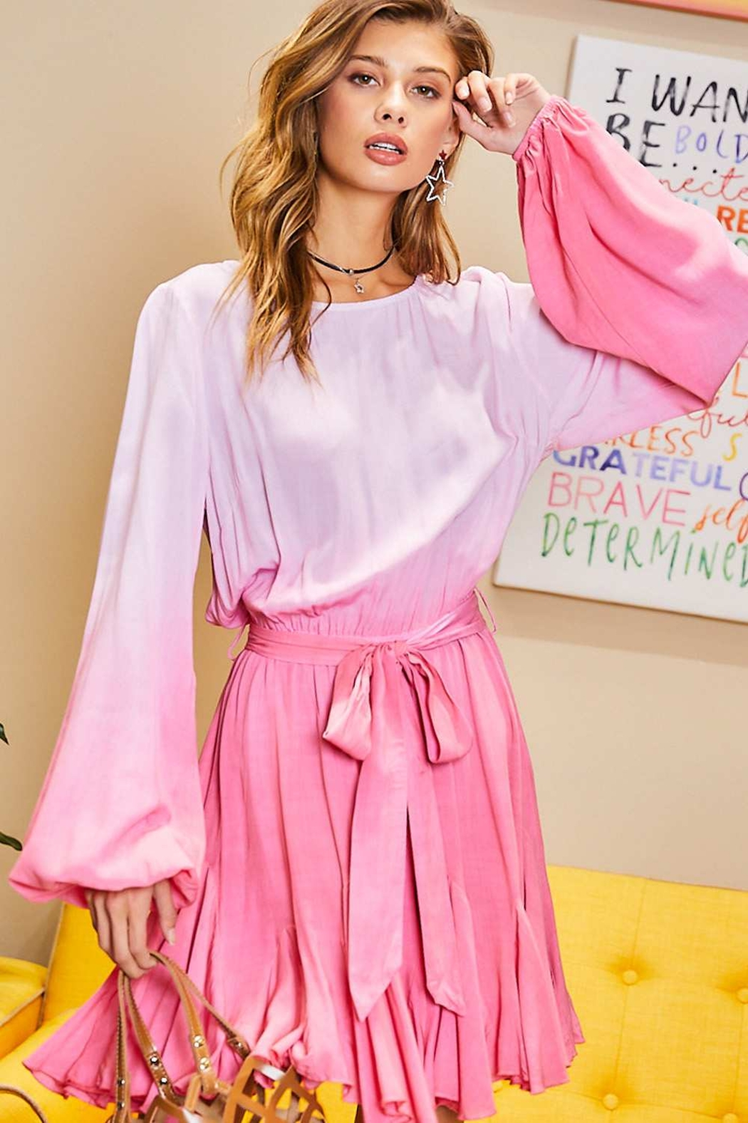 Mainstrip  Pink Ombre Dress - Back Cropped Image