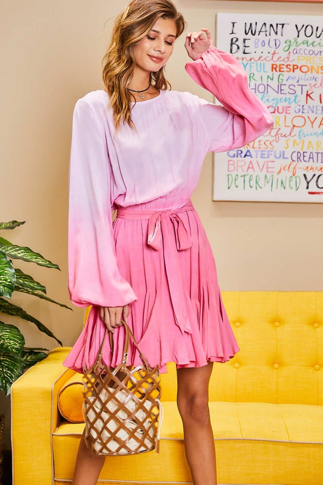 Mainstrip  Pink Ombre Dress - Front Full Image