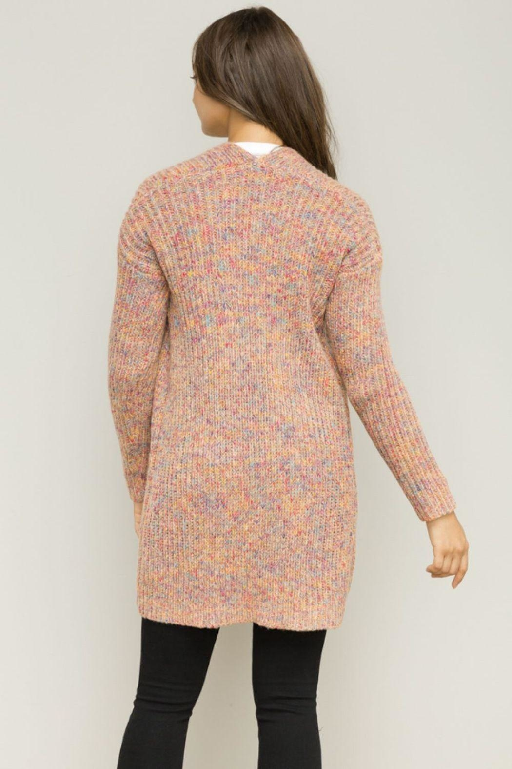 Hem & Thread Pink Open Cardigan - Back Cropped Image