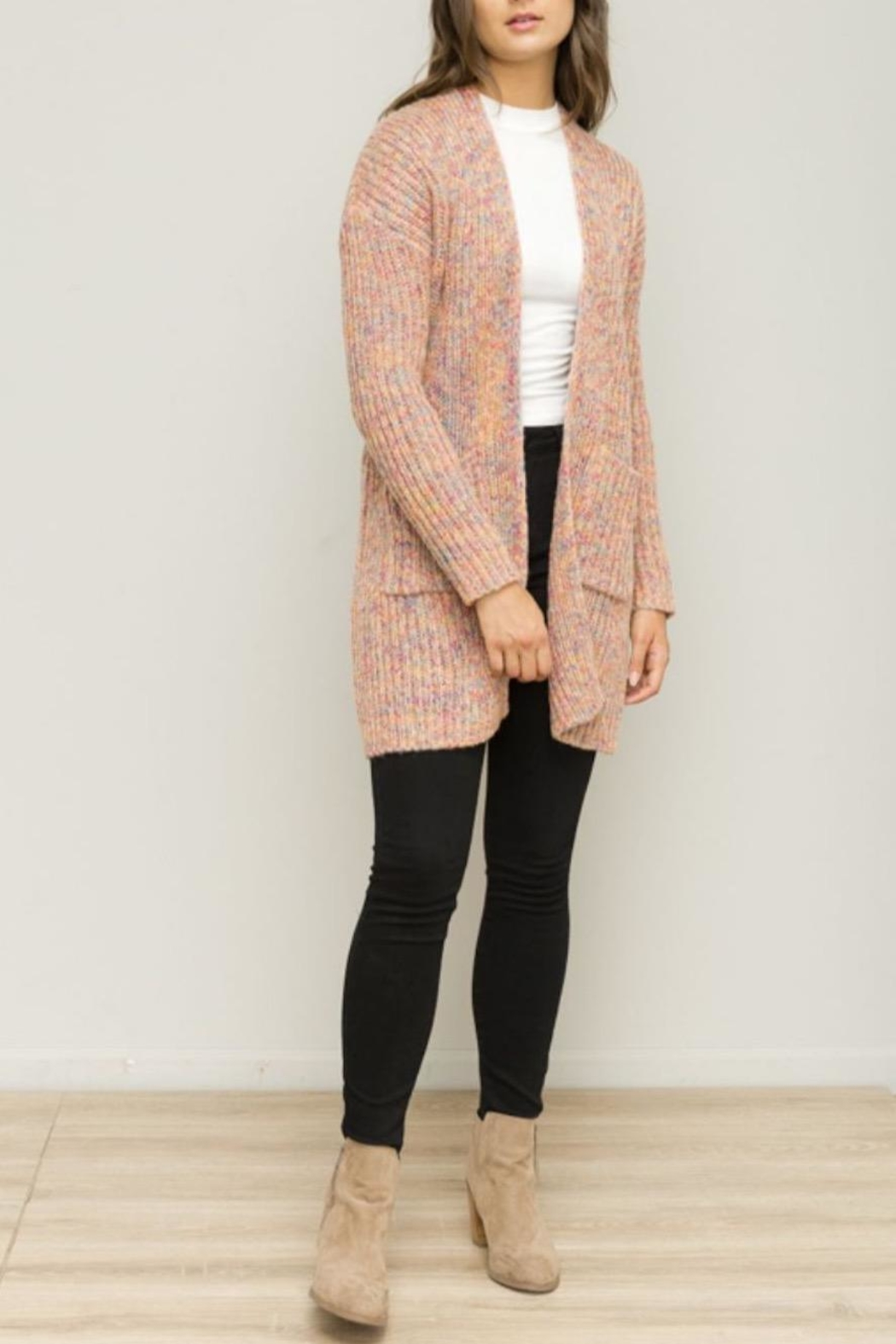 Hem & Thread Pink Open Cardigan - Main Image