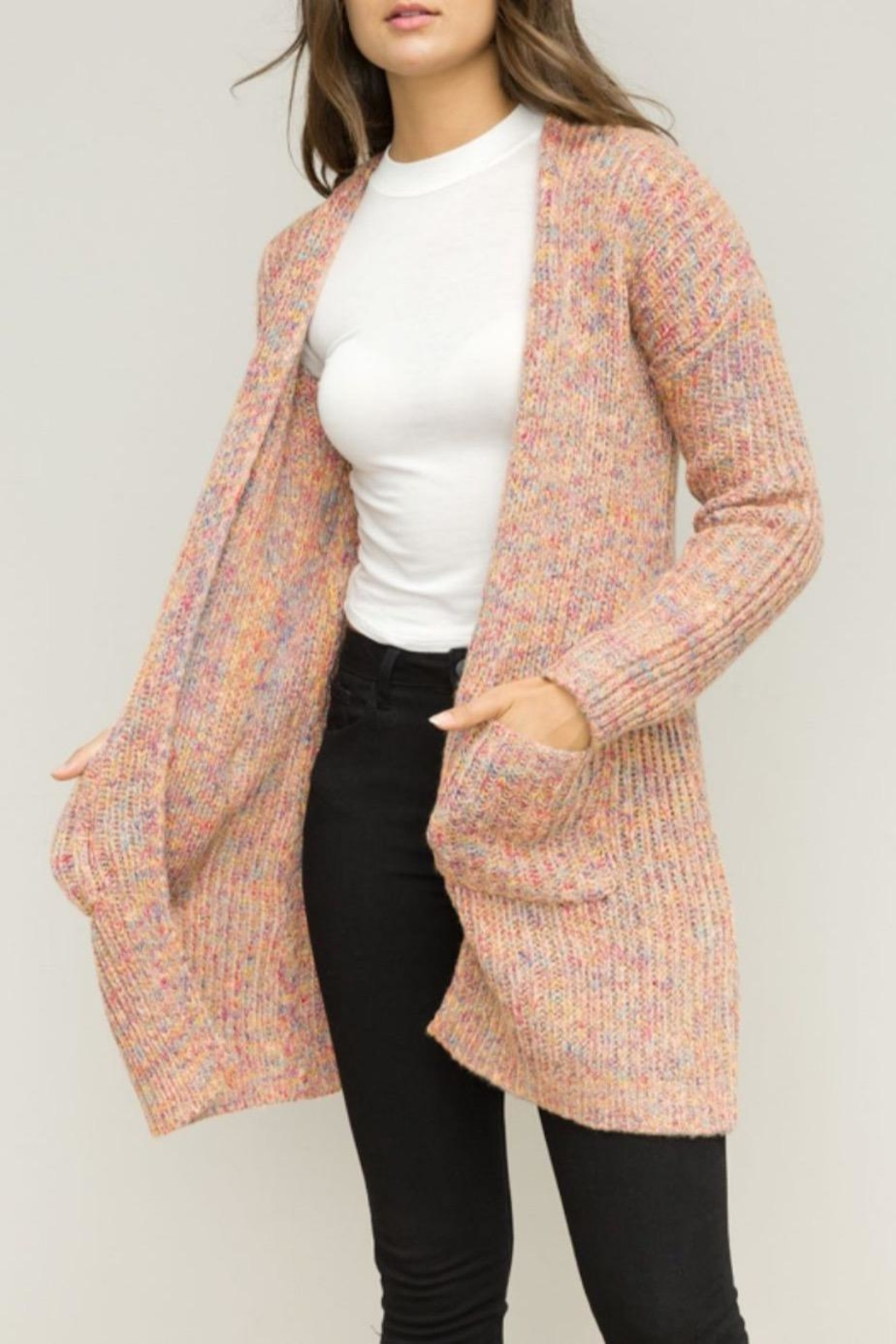 Hem & Thread Pink Open Cardigan - Front Full Image
