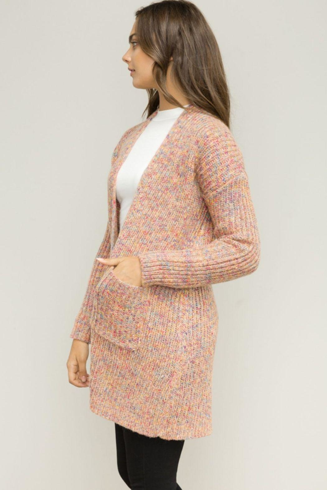 Hem & Thread Pink Open Cardigan - Side Cropped Image