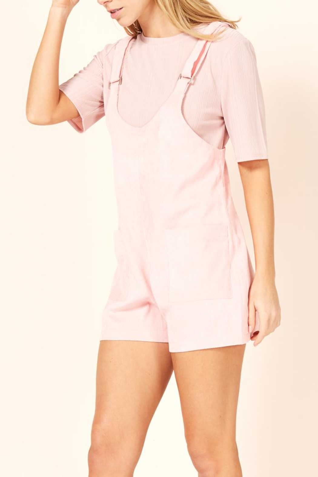 MINKPINK Pink Overall Romper - Side Cropped Image