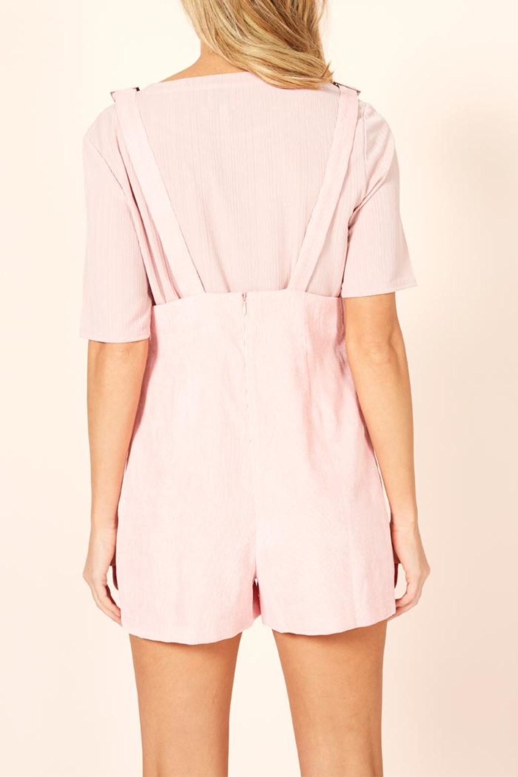 MinkPink Pink Overall Romper - Back Cropped Image
