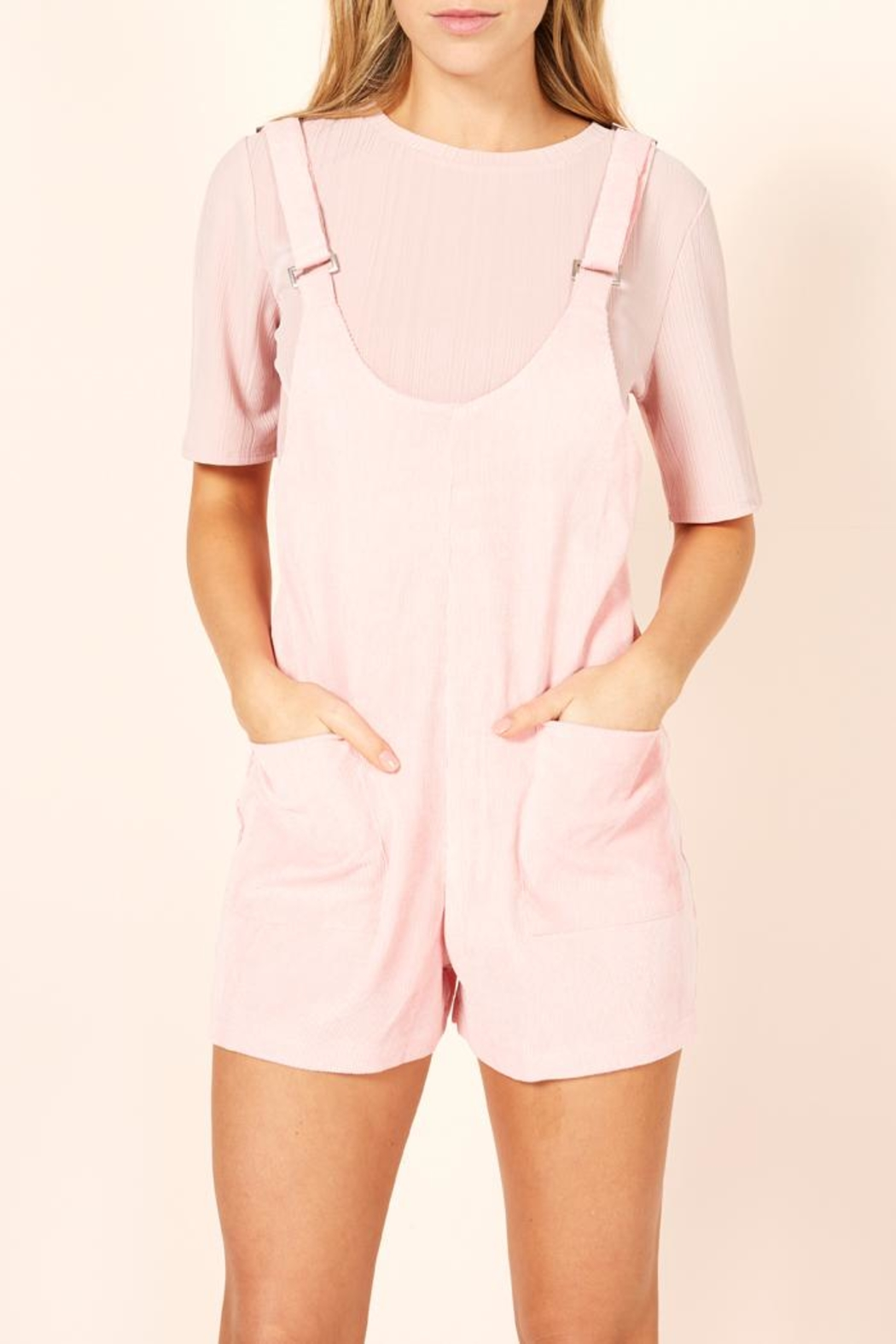 996c2305ff37 MinkPink Pink Overall Romper from New York by Luna — Shoptiques