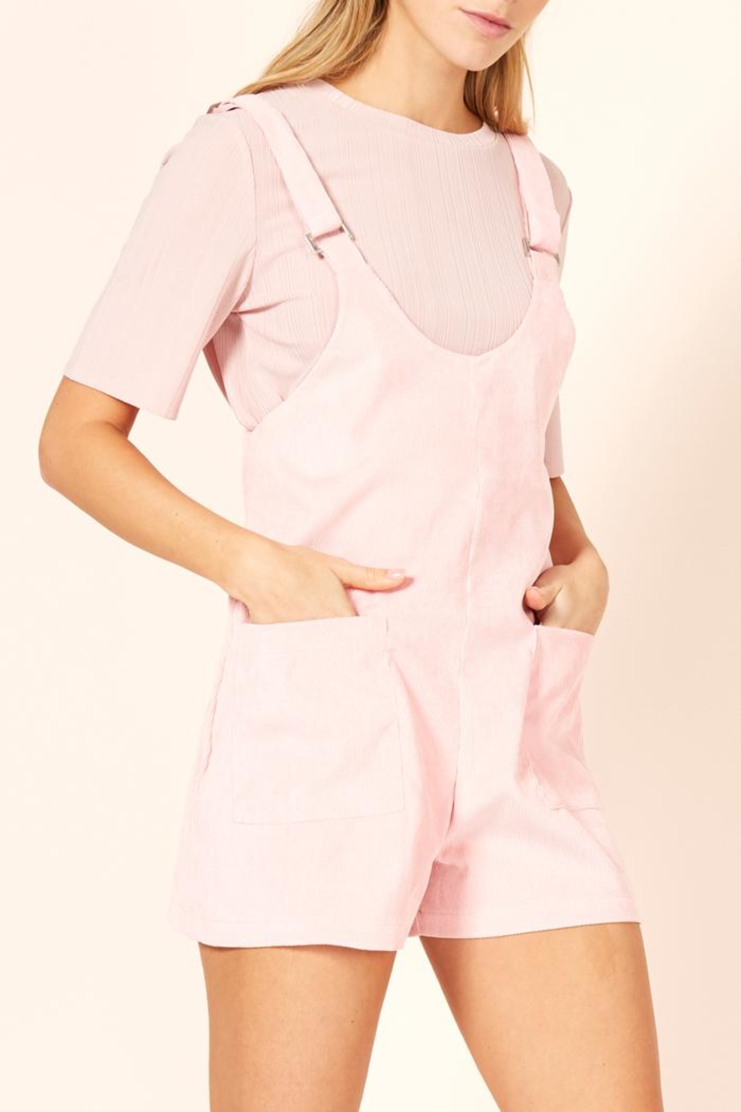 MinkPink Pink Overall Romper - Front Full Image