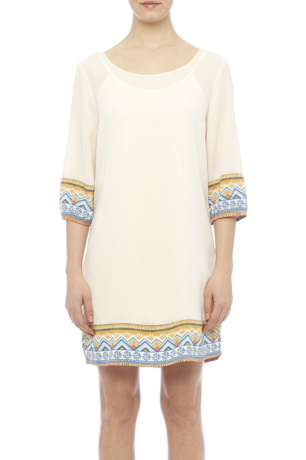 Pink Owl Apparel  Tribal Cream Dress - Side Cropped Image