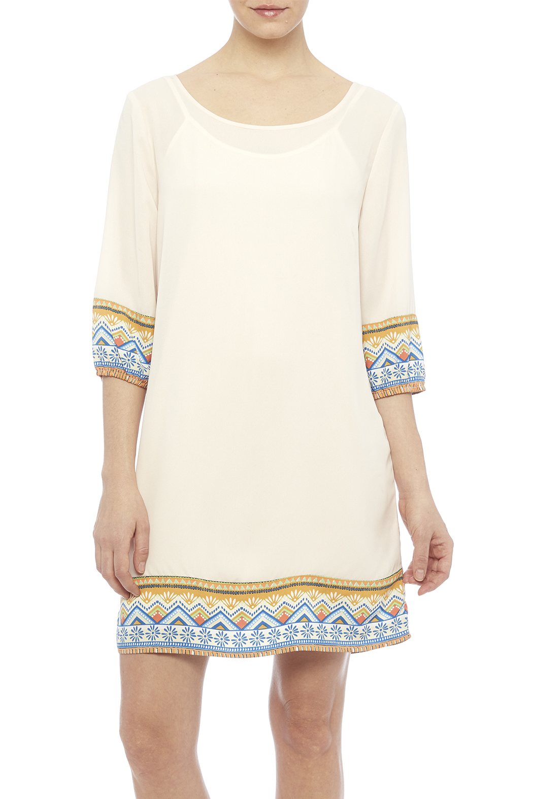 Pink Owl Apparel  Tribal Cream Dress - Front Cropped Image