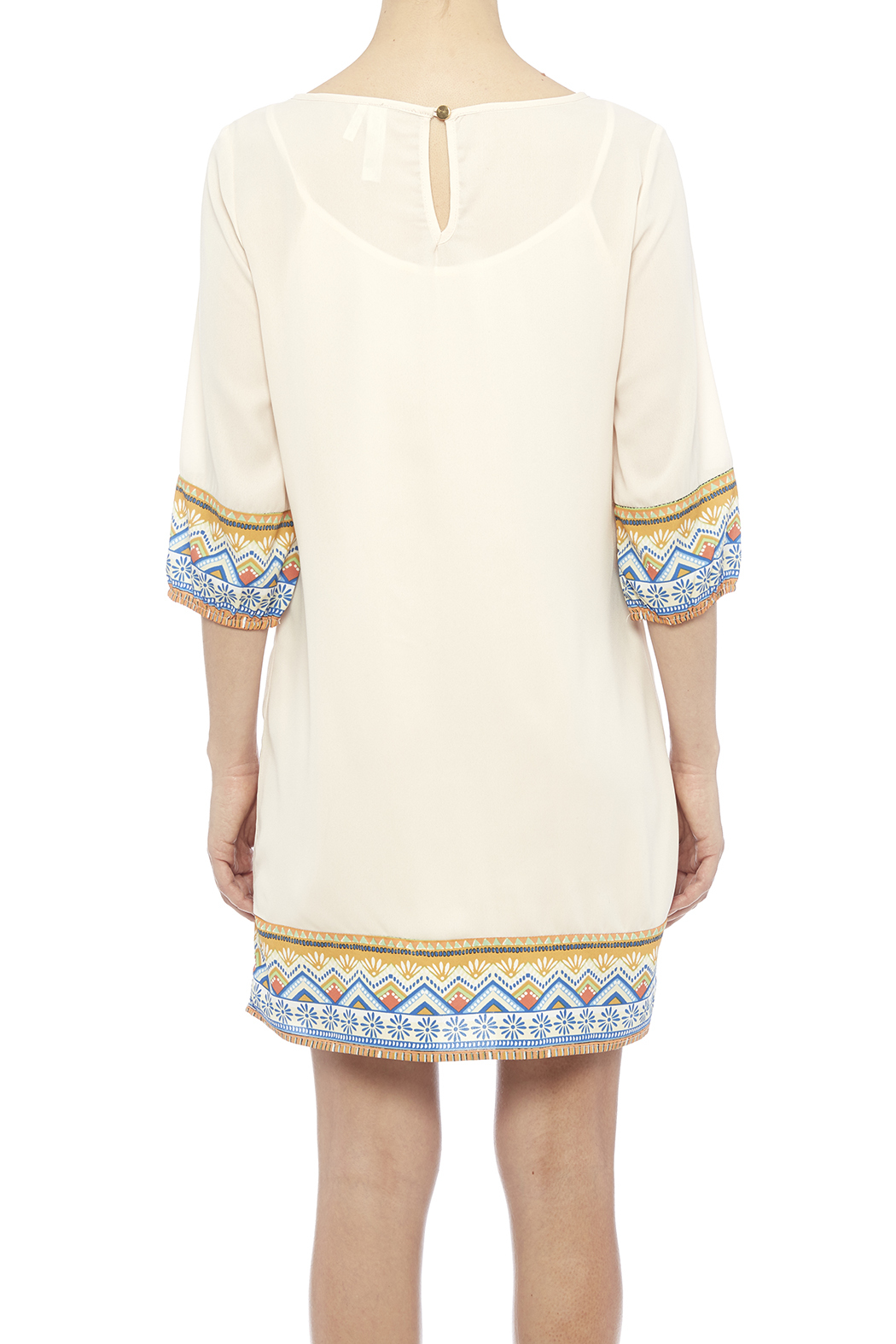 Pink Owl Apparel  Tribal Cream Dress - Back Cropped Image