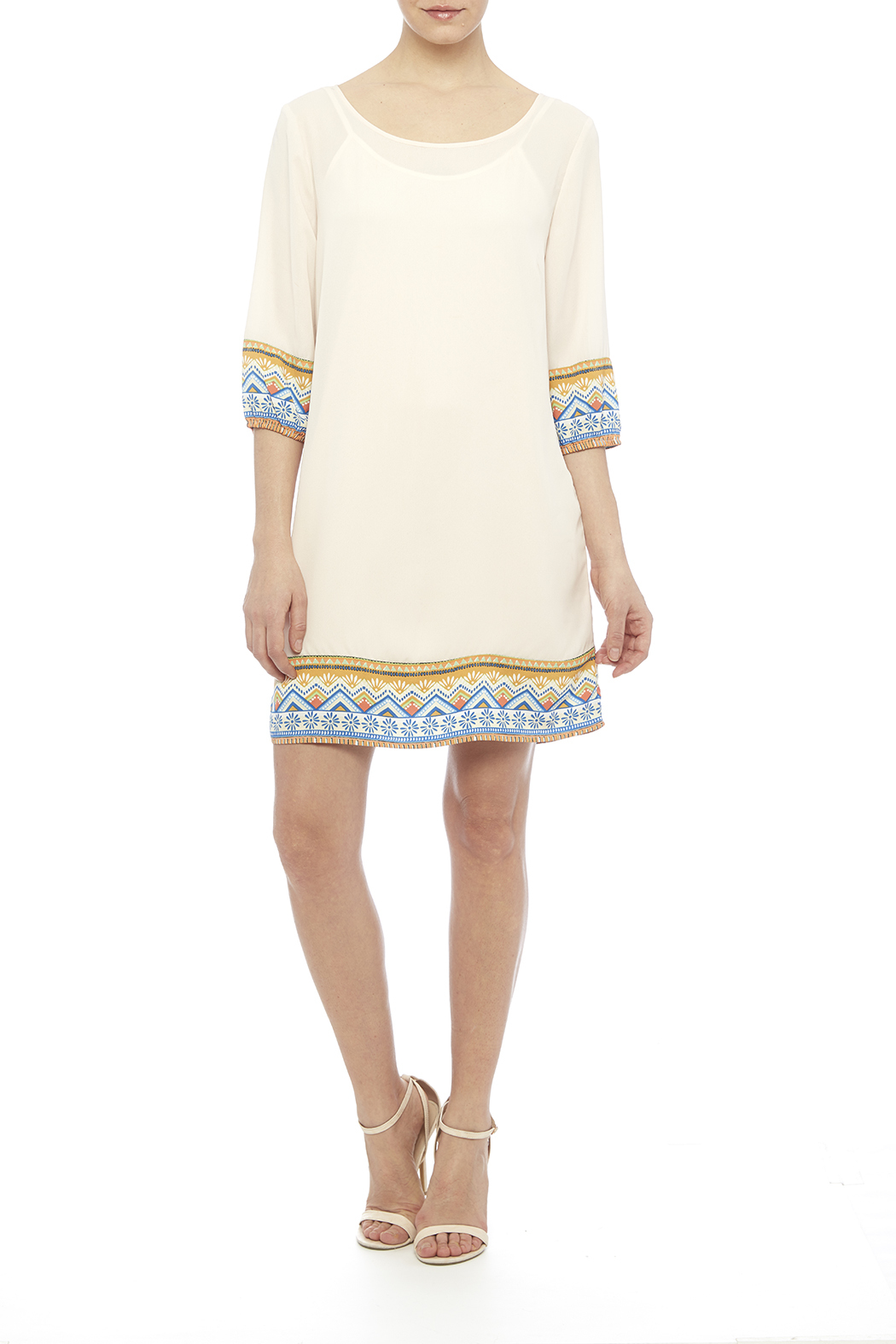 Pink Owl Apparel  Tribal Cream Dress - Front Full Image
