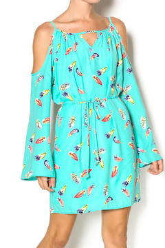 Pink Owl Feather Print Dress - Product List Image