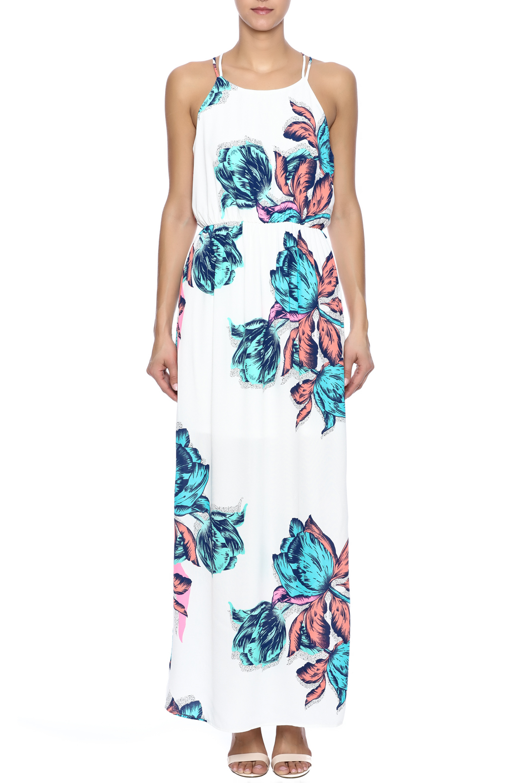 Pink Owl Floral Maxi Dress - Front Cropped Image